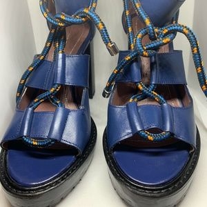Zara Blue Leather Chunky Heel Sandals